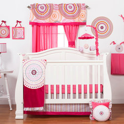 "Sophia Lolita - Infant Set (3pc no bumper) - Come into a room full of color and fun with ""Sophia Lolita""!  Dance and spin in dynamic hues of poppin pinks, outrageous orange and brilliant black all surrounded by whimsical white!  ""Sophia Lolita"" is designed using contemporary circular shapes in different sizes throughout its entire collection.   This 3pc set includes:  crib bed skirt, crib sheet, and a coordinating medium quilt.  Bed skirt introduces this collections ""Lolita Stripe""  for the main part of the skirt and trimmed in solid poppin pink -- both cotton fabrics.  Crib sheet adds color to the entire collection in poppin pink cotton fabric.  Sophia Lolita coordinating quilt is fun and pretty.  Soft minky on both sides make this the perfect blanket anytime and anywhere!  Quilt front is designed with bright poppin pink minky and detailed with the collections circular shape in a magnificent appliqu� which is centered.  Back of quilt is solid poppin pink.   Quilt has ruffle trim in ""Lolita Stripe"" cotton print fabric which adds detail and style.   Not only does this quilt coordinate with the entire set you can also enjoy using this outside the crib and for years to come!  SAVE WHEN YOU BUY AS A SET!"
