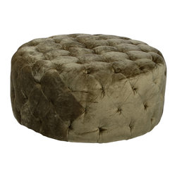 "Armen Living - Victoria 36"" Round Moss Green Ottoman - An ottoman for 2 or 3 people or the center of the party. 36 inch round moss green fabric ottoman designed for a lot of family use. Armen Living is the quintessential modern-day furniture designer and manufacturer. With flexibility and speed to market, Armen Living exceeds the customer s expectations at every level of interaction. Armen Living not only delivers sensational products of exceptional quality, but also offers extraordinarily powerful reliability and capability only limited by the imagination. Our client relationships are fully supported and sustained by a stellar name, legendary history, and enduring reputation. The groundbreaking new Armen Living line represents a refreshingly innovative creative collaboration with top designers in the home furnishings industry. The result is a uniquely modern collection gorgeously enhanced by sophisticated retro aesthetics. Armen Living celebrates bold individuality, vibrant youthfulness, sensual refinement, and expert craftsmanship at fiscally sensible price points. Each piece conveys pleasure and exudes self expression while resonating with the contemporary chic lifestyle."