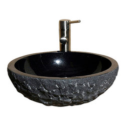The Allstone Group - V-VR166-BE Black Granite Polished Vessel Sink - Natural stone strikes a balance between beauty and function. Each design is hand-hewn from 100% natural stone.  Vessel sinks can be the most inspiring feature in a bathroom, adding style and beauty to any bath space.  Stone not only is pleasing to the eye but also has the feel of something natural and solid.