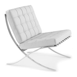 Rove Concepts - Barcelona Chair, Siena White - European Barcelona Chair, Aniline High-grade Leather Imported from Italy, Hand Crafted Piece of Classic Barcelona Chair - originally made in 1929 for Spanish Royalty