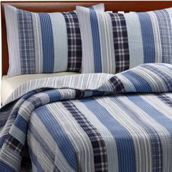 Ivy Hill Home - Montego Blue Quilt - A classic blue and white quilt gives any bed a timeless look. The yarn dyed fabric and rows of stripe, solid and plaid designs make it a versatile choice.