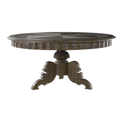 Curations Limited - Curations French 63 Round Table in Grey Oak - Unfinished tabletop has the patina of reclaimed wood. The pedestal base is unfinished weathered grey oak with hand carved base and carved apron going around table top.