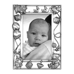 """Home Decorators Collection - Nursery Parade Picture Frame - Put your baby picture in a place of honor with our Nursery Parade Picture Frame. This metal photo frame features an open design of embossed animals, toys and balloons running in a staggered line along two trim borders. Holds one 4"""" x 6"""" photo. Pewter frame with die-cast embellishments. Glass protects photo. Flocked back with one-way easel. Includes gift box."""