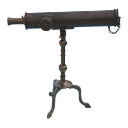 "10"" Antique Patina Brass Victorian Desk Telescope - The solid brass 10""Antique Patina Brass Victorian Desk Telescope is the perfect addition to any desk, credenza, home office, or library.  This classic style telescope is modeled after 18th Century and early Victorian designs and is offered in antique patina brass.  The telescope features a solid brass lens cap that is secured to the telescope by a small chain.  The mount assembly allows the telescope a wide range of elevation and declination adjustment and a locking nut allows the viewer to stabilize the telescope in a suitable position.  The 8-power 10-inch Brass Victorian Desk Telescope produces a crisp non-inverted (upright) image.  The precision rack and pinion focuser is adjusted using the large knurled side knob.  A decorative screw rod adjustment is located on the side of the main tube.  When fully extended the telescope is 10"" long and 9.5"" tall.  The diameter of the telescope is 1 11/16"" and the objective lens is 25 mm in diameter.  It weighs 1 pound 14 ounces."