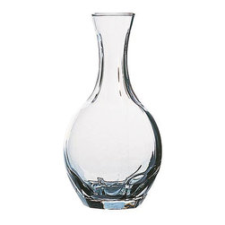 Col Carafe- Small - A vase-like neck with the subtlest of flares at the mouth makes this Small Col Carafe an easy method for serving drinks - the long spout reduces splash with fruit-containing punches like sangria, allows excellent control of the contents, and lightly aerates the many drinks that are better with just a hint of stirring. Clear glass walls are heavy and sturdy, but allow viewing of the contents.