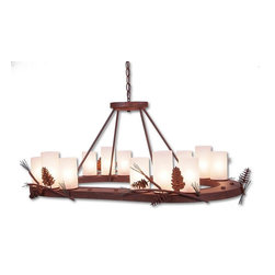 Avalanche-Ranch - Pine Cone Art: Wisley Chandelier Oval - Rustic Chandeliers with Pine Cone artwork - Takes (12) 60W C-Type bulb(s)