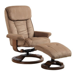 "Mac Motion - Mac Motion 7151 Series Comfort Chair Recliner and Ottoman Set in Mocha - Recliner and Ottoman Set in Mocha belongs to Comfort Chair Collection Collection by Mac Motion Plush is the word for this unique Euro Design motion chairs and matching ottoman. Features for this comfortable chair include 360 degree pinion swivel with multiple reclining position adjustment. Matched with angled ottoman for lower leg support and to complete therapy seating. Complimented by plush microfiber material in a deep ""Mocha"" color with a warm ""Walnut"" wood frame finish.  Recliner (1), Ottoman (1)"