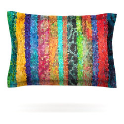 """Kess InHouse - Catherine Holcombe """"Stained Glass Batik Mosaic Stripe"""" Pillow Sham (Cotton, 40"""" - Pairing your already chic duvet cover with playful pillow shams is the perfect way to tie your bedroom together. There are endless possibilities to feed your artistic palette with these imaginative pillow shams. It will looks so elegant you won't want ruin the masterpiece you have created when you go to bed. Not only are these pillow shams nice to look at they are also made from a high quality cotton blend. They are so soft that they will elevate your sleep up to level that is beyond Cloud 9. We always print our goods with the highest quality printing process in order to maintain the integrity of the art that you are adeptly displaying. This means that you won't have to worry about your art fading or your sham loosing it's freshness."""