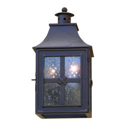 Custom Exterior Iron Lights - Classic and elegant design in this exterior hand forged iron lantern with 2 lights. Clear seeded glass, powder coat base and an additional hand applied color finish for that Old World look are elements that are always included in our exterior pieces.