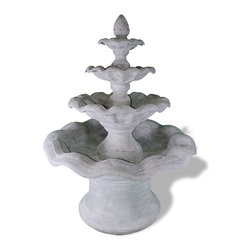 Amedeo Design, LLC - USA - Smooth Wavy 4 Teir Fountain - Our Smooth Wavy Four Tier Fountain has 4 Tiers creating a large and dramatic focal point to your estate. Made of lightweight yet incredibly strong ResinStone, our fountain can be easily delivered to any home and positioned by just two people. Fitted and plumbed. Though they look like ancient European & Mediterranean designs in carved stone, our products are made of lightweight weatherproof ResinStone. So authentic, you actually have to lift them to convince yourself they're not stone at all! Made in USA.