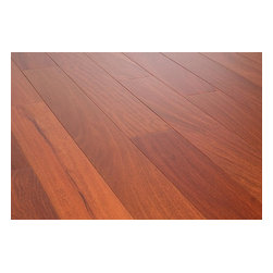 """Vanier - Vanier Engineered Hardwood - Cosmopolitan Collection - [19.4 sq ft/box] - Santos Mahogany / 4 7/8"""" / 9/16"""" / Random Length / Full and Partial Pallets -Vanier's Cosmopolitan line of engineered hardwood flooring offers a high-quality semi-gloss finish on a richly textured and warmly colored layer of real hardwood, strengthened by 7 coats of aluminum oxide finish. This excellent line of flooring features a micro-beveled edge design."""