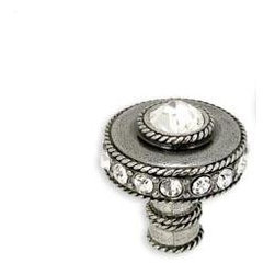 Cartier Knob - Add a little bling to your cabinets with this jeweled knob. Made of 100 percent lead-free pewter and measuring 1 1/8 inches, it sparkles and shines. It's perfect for a powder bath or a mirrored side table.
