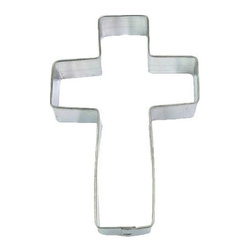 HOF - Cross 5 In. B1291 - Cross cookie cutter, made of sturdy tin, Size 5 in., Depth 7/8 in., Color silver