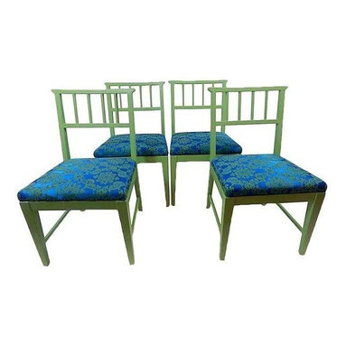 "Pre-owned Danish Dining Chairs - Set of 4 - A set of four hand-painted green Danish style dining chairs with blue and green patterned fabric seats. This set would add some charm to any dining table, and is in excellent vintage condition.    Seat, 17""H."