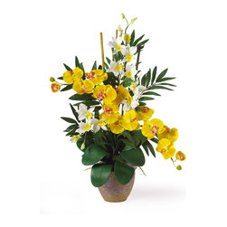 Nearly Natural - Nearly Natural Double Phal/Dendrobium Silk Flower Arrangement in Yellow/Cream - If you are looking for an exquisite one of a kind piece then stop right here. This silk orchid arrangement is an exciting mixture of two classic phalaenopsis orchid stems that intertwine with two dendrobium stems. You also notice shoots of bamboo and gorgeous green leaves that help to complete the warm tropical feel of this unbelievable piece. Standing 29 in tall and set in a timeless ceramic pot this silk orchid arrangement is sure to charm the masses. Height: 29 in, Vase: 7 in W * 5.5 in H
