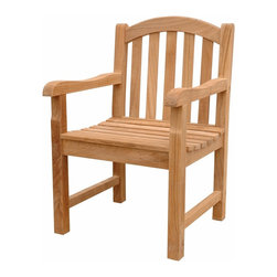 Anderson Teak - Chelsea Dining Armchair - This simple traditional curved back style-dining armchair will never go out of style, but quietly blends with any other design. The seat is very sturdy as well as the back. Place this armchair in your backyard with the dining table, will amazed your family or friends. It is the matching set for our famous Kingston 3-Seater Bench (BH-005O). Cushion is optional and is being made by order.