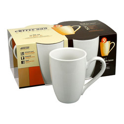 Konitz - Café Mugs, Set of 4 - When you picture a classic coffee bar mug, it probably looks exactly like this. This mug's timeless design, in clean white porcelain, is popular in cafés worldwide. The porcelain is durable, dishwasher safe, and weighty enough to maintain heat longer. The traditional shape is perfectly suited for your morning coffee, afternoon tea or evening hot chocolate.