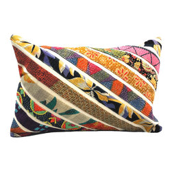 Modelli Creations - Vintage Sari Stripe Lumbar Pillow, White - Rejuvenate decor with a splash of patchwork design and vivid color. Crafted from a unique blend of strips vintage fabric against brown or white contrasting fabric in a diagonal stripe design, these pillows offers a soft spot to rest on while adding an element of bright bohemian flair to any room.