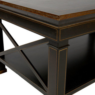 """Chinoiserie Criss-Cross Coffee Table (ON SALE) - The black/gold handmade and hand-painted criss-cross coffee table with one lower shelf is made of wood. Size: 40"""" x 24"""" x 18""""H. Care: wipe with a cloth"""