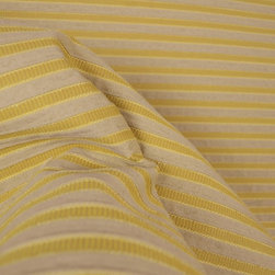 """Yellow Tan Horizontal Textured Stripe Upholstery Fabric - Yellow horizontal striped upholstery fabric.  Heavy and durable upholstery fabric, great for furniture, cushions or cover a headboard.  The stripes are a raised chenille giving the fabric texture and softness.  55"""" wide yellow and tan upholstery fabric.  Have fun and give you headboard or cornice boards a designer look with horizontal stripes."""