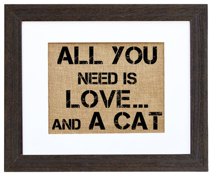 Eclectic Prints And Posters 'All You Need Is Love ... and a Cat' Art