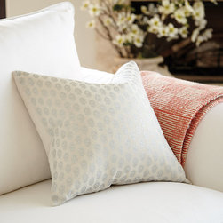 Ballard Designs - Fiona Metallic Ditsy Pillow with Insert - Hidden zipper. Plush feather down insert included. Every room needs a little a shimmer to shine. Our Fiona Metallic Pillow is sewn of soft 100% linen and screen-printed in a silver ditsy pattern for subtle global flavor. Layers beautifully with our Lulu Embroidered and Lindsey Ikat pillows. Fiona Metallic Pillow features: . .