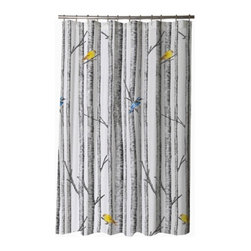 Shower Curtain HQ - The design on this luxury shower curtain is inspired by the distinctive papery spindles of Birch trees in a winter wood, a black and white backdrop, with a touch of hand painted watercolor birds in Aspen Gold and Sapphire. This Birch design helps you get in touch with nature. This shower curtain would look great with light blue or bright yellow walls!