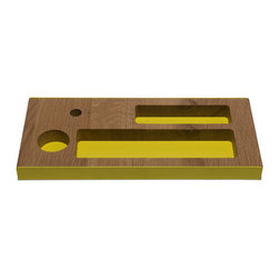 Industry West - Aero Desk Tray - Large - The Aero Desk tray is a solid French oak organizer that will add a fresh design to any modern or transitional desk. A solid block of French oak is clad with lacquered steel to create a lasting impression.