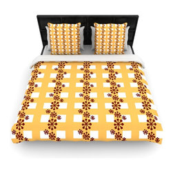 """Kess InHouse - Jane Smith """"Mushroom Repeat"""" Brown Yellow Cotton Duvet Cover (Queen, 88"""" x 88"""") - Rest in comfort among this artistically inclined cotton blend duvet cover. This duvet cover is as light as a feather! You will be sure to be the envy of all of your guests with this aesthetically pleasing duvet. We highly recommend washing this as many times as you like as this material will not fade or lose comfort. Cotton blended, this duvet cover is not only beautiful and artistic but can be used year round with a duvet insert! Add our cotton shams to make your bed complete and looking stylish and artistic!"""