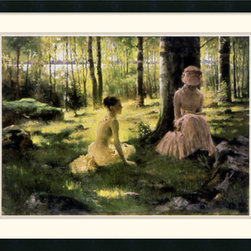 Amanti Art - Under the Birches Framed Print by Albert Edelfelt - Two young women relax in this serene wooded landscape.  Finnish born painter Albert Edelfelt captures quiet beauty and stillness with his signature grace and style.