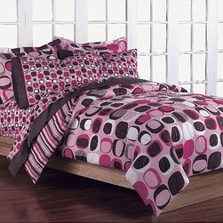 None - Opus Pink 5-Piece Twin-size Bed in a Bag with Sheet Set - Add pizzazz to any bedroom with this pink twin-size bed in a bag. The comforter has a modern geometric print in bold colors that will attract attention,and the set also includes coordinating cotton sheets,a standard pillowcase,and a sham.