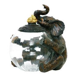 Elephant and Peanuts Glass Storage Jar - *Dimensions: 9L x 12W x 12H