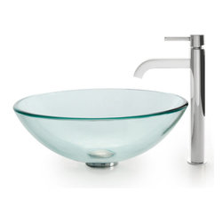 Kraus - Kraus C-GV-101-12mm-1007CH Clear Glass Vessel Sink and Ramus Faucet - Add a touch of elegance to your bathroom with a glass sink combo from Kraus