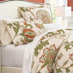 Crewel Bedding Giverny Sweet Pine Duvet Cover Cotton Duck Queen