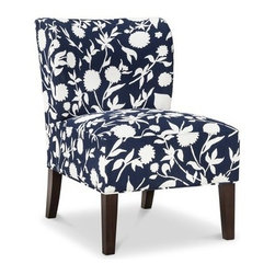 Threshold Scooped-Back Chair, Navy Floral - I often suggest that my clients buy neutral upholstered pieces and bring in color with accessories like throws and pillows. But blue and white is so classic and timeless that I wouldn't hesitate to add this chair to any home — especially at this price!