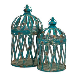 Antique Blue Iron Jennifer Bird Cages - Set of 2 - *With antiqued blue finish, our Jennifer Bird Cages are expertly crafted from iron and exude a classic charm. Whether used as a home accent, or for your feathered friend, these cages aren't just for the birds.