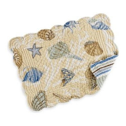 C & F Enterprises, Inc. - Madeira Quilted Placemat - The Madeira placemat brings images of the ocean to your table with its beautiful sea shells. The images are printed on a taupe background and include hues of blue, tan and brown.