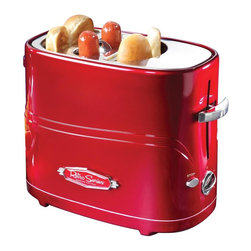Nostalgia Products - Retro Series Pop-Up Hot Dog Toaster in Red - Includes mini tongs. Holds up to two regular-sized hot dogs and two hot dog buns at one time. Adjustable heat controls. Removable hot dog basket. Removable drip tray makes clean-up easy. Cord wrap for easy storage. Total wattage: 650 W. 90 days warrantyThe Retro Series Pop-Up Hot Dog Toaster is a fast, fun and convenient way to enjoy hot dogs. A fun way for guests of all ages to enjoy delicious hot dogs, the Hot Dog Toaster is perfect for entertaining, as well as a quick meal solution. Now cooking hot dogs is as simple as making toast!