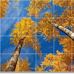 Picture-Tiles, LLC - Trees Leaves Photo Kitchen Tile Mural T051 - * MURAL SIZE: 24x36 inch tile mural using (24) 6x6 ceramic tiles-satin finish.