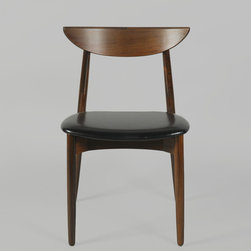Harry Østergaard Rosewood Crescent Dining Chairs w/ Black Leather (Set of 6) - Vintage 1960s Rosewood Dining Chairs by Harry Østergaard.