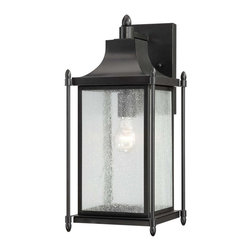 Savoy House - Savoy House 5-3452-BK Dunnmore Wall Mount Lantern - Dunnmore has classic American styling with clean lines, a Black finish and rustic Seeded glass.