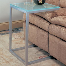 Coaster - Accent Frosted Glass Top Snack Table - Contemporary style. Rectangular in shape. Pewter finished metal base. Spacious top for placing snacks and drinks without having to get up or stretch uncomfortably. 18 in. W x 18 in. D x 24 in. H. WarrantyThis snack table is contemporary with an edgy design to place in your living or entertaining area. Modernize your living room while also bringing comfort and convenience with this snack table.