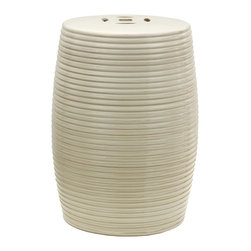"Oriental Furniture - 18"" Beige Ribbed Porcelain Garden Stool - This hand-crafted porcelain garden stool featuring slab and coil design is inspired by traditional Chinese art. Featuring a creamy beige glaze with a medium gloss, this porcelain stool is a pleasing accent for any room with hip or eclectic decor. Featuring a pierced medallion design on top, an open base, and a weather-resistant finish, this is also suitable for outdoor use on a porch or in the garden. Ideal for use as an end table, plant stand, or seat, its smooth lines and clean color will bring a touch of modern chic to your home decor."