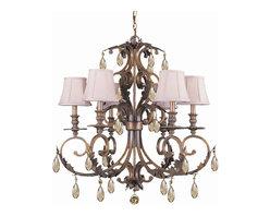 Crystorama - 6 Lights Hand Cut Crystal Chandelier - Golden teak hand cut crystal wrought iron chandelier.