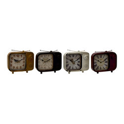 Customary Styled Metal Table Clock, Set of 4 - Description: