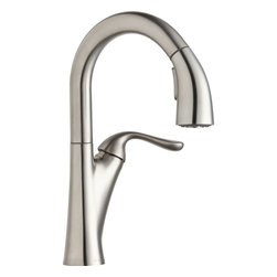 Elkay - Single Lever Pull Down Bar Faucet LS - Product height: 2.76. Product min width: 10.24. Product depth: 22.83 sngl lvr pd bar fct ls. A magnificent blend of traditional and contemporary themes, harmony sinks and faucets embody simplicity yet resonate sophistication. Featuring straight lines and rounded profiles, this family offers an unrivaled transitional geometry. Harmony pull-down bar / prep faucet deck mount pull-down spray.