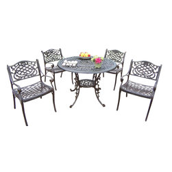 Oakland Living - Outdoor Dining Set, 5 Pieces - This dining set is the prefect piece for any outdoor dinner setting. Just the right size for any backyard or patio. We recommend that the products be covered to protect them when not in use. To preserve the beauty and finish of the metal products, we recommend applying an epoxy clear coat once a year. However, because of the nature of iron it will eventually rust when exposed to the elements. The Oakland Mississippi Collection combines southern style and modern designs giving you a rich addition to any outdoor setting. The traditional lattice pattern and scroll work is crisp and stylish. Each piece is hand cast and finished for the highest quality possible.