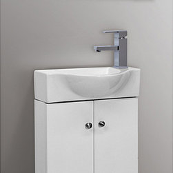 Fine Fixtures - Glenwood 17 Inch White Wood Bathroom Vanity - Give your bathroom a quick update with this stylish white vanity. With two drawers and slim styling,this vanity from Glenwood is both modern and contemporary.