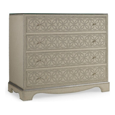 Hooker Furniture - Melange Resplendant Chest - Like silver jewelry on a linen jacket, hundreds of sparkling nailheads in an intricate pattern contrast with a linen backdrop on the Resplendent Chest for a fresh and unique look.  Four drawers with wallpapered interior.  Glass top.