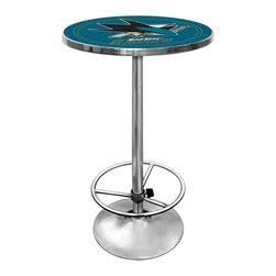Trademark Global - Round Pub Table w NHL San Jose Sharks Logo Ta - Great for gifts and recreation decor. 0.125 in. Scratch resistant UV protective acrylic top. Full color printed logo is protected by the acrylic top. Table top is trimmed with chrome plated banding. 1 in. Thick solid wood table top. Chrome base with foot rest and adjustable levelers. 28 in. L x 28 in. W x 42 in. H (72 lbs.)This National Hockey League officially licensed pub table is the perfect for your game room on Hockey Night.